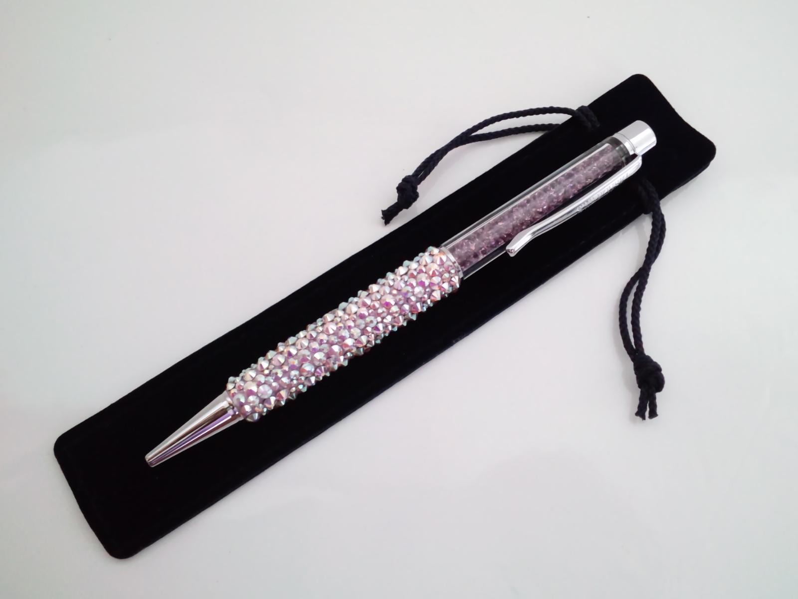 スワロボールペン『SWAROVSKI パープルパール ボールペン』袋付き