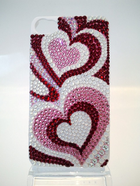 iPhone4 (4S)用デコケース『ピンク プッチ柄』正面の写真