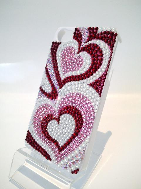 iPhone4 (4S)用デコケース『ピンク プッチ柄』斜めの写真